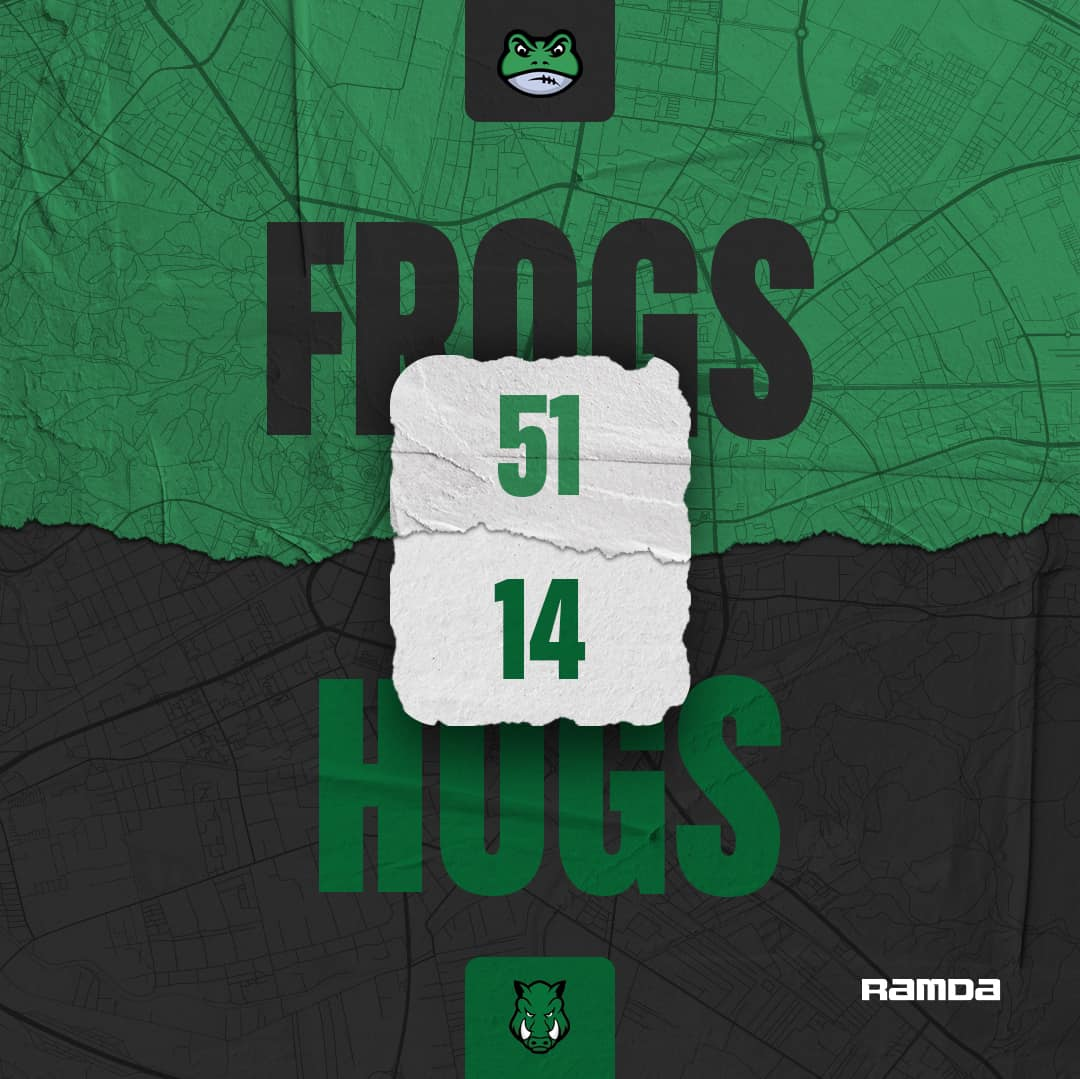 Frogs are moving 4-0 against the Wild Hogs in the SFFL